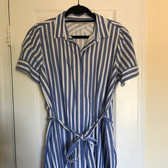 LOFT Dresses & Skirts - Loft blue and white vertical stripped shirtdress